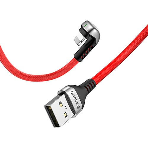 Baseus Green U-shaped lamp Mobile Game Cable USB For iP 2.4A 1M Red
