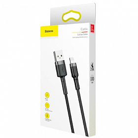 Baseus cafule Cable USB For lightning 2.4A 1M Gray+Black